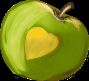 яблоки зеленые с сердечком