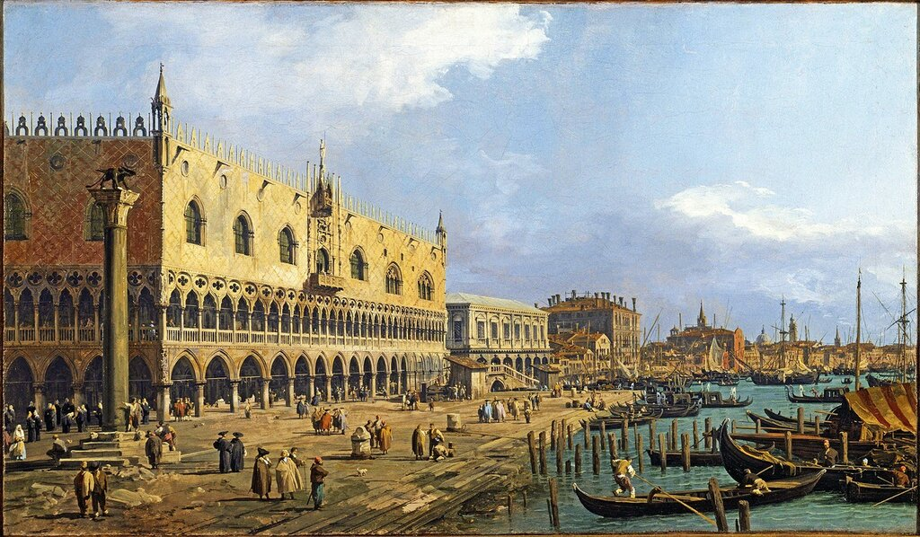 THE DOGES PALACE AND RIVA DELLA SCHIAVONI, VENICE, 1731 by Canaletto at Tatton Park, Cheshire