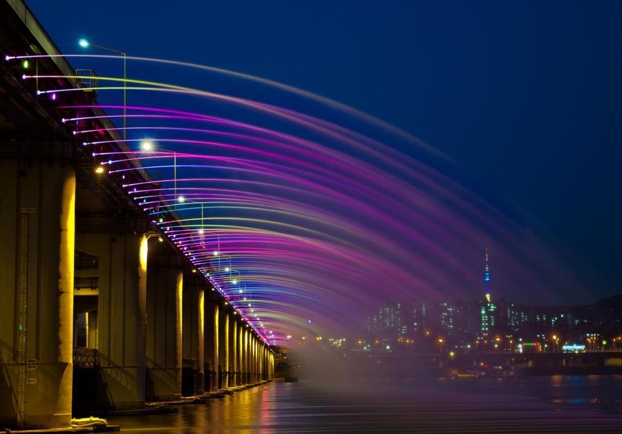 4. Фонтан «Лунная радуга» (Сеул, Южная Корея) Самый длинный фонтан на мосту Фонтан и красивый мост