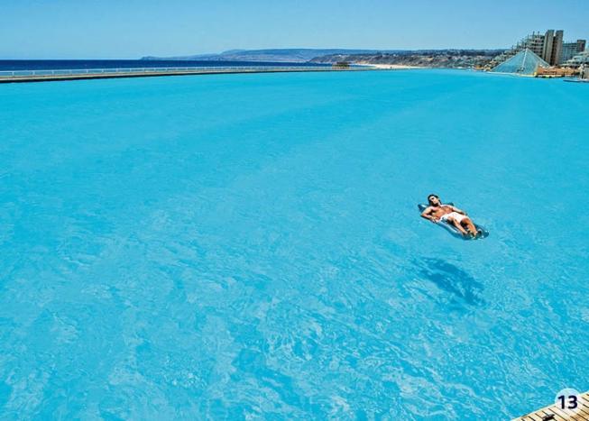 6. Бассейн наполнен океанической водой, подогретой на 9 градусов.