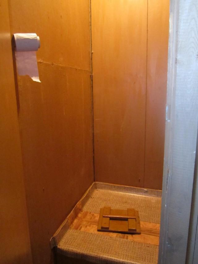 5. Вот еще одно из местных удобств. Туалет «свободного падения». Он находится в сенях, стенки его гр