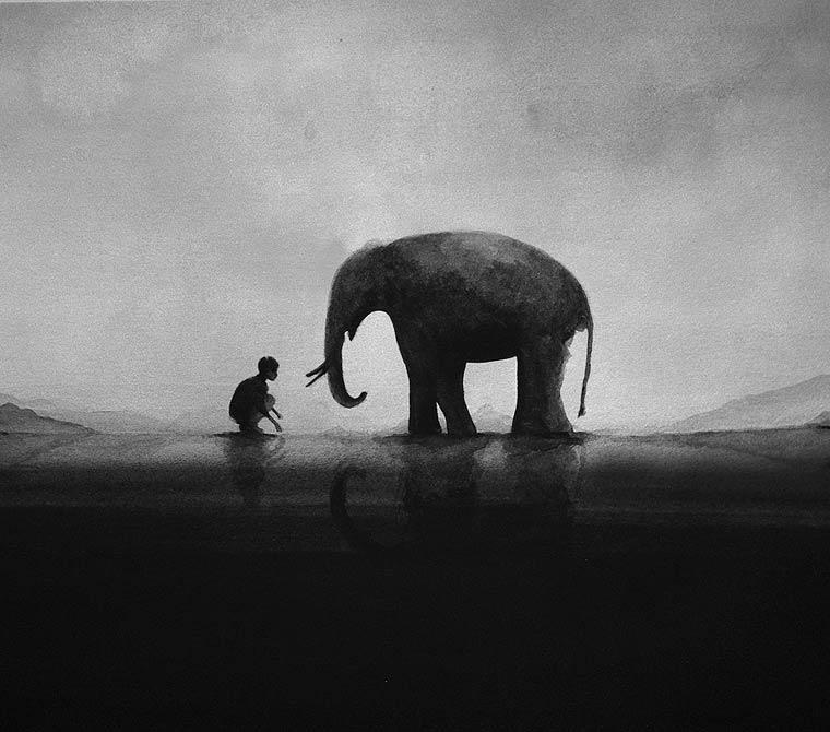 Kids and Animals - De magnifiques aquarelles minimalistes et monochromes