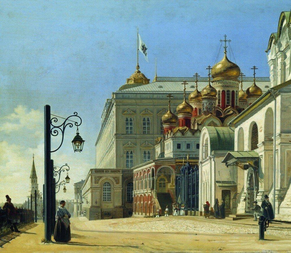 453627 Вид в Кремле (Архангельский и Благовещенский соборы) Карл Петрович Бодри  1850.jpg