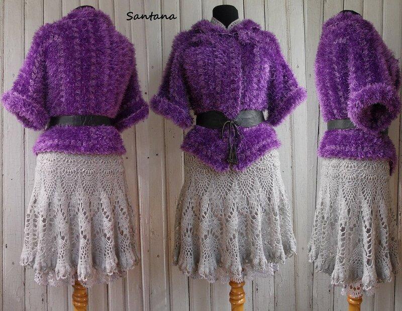 Серое платье и шубка. Коллаж 3-1