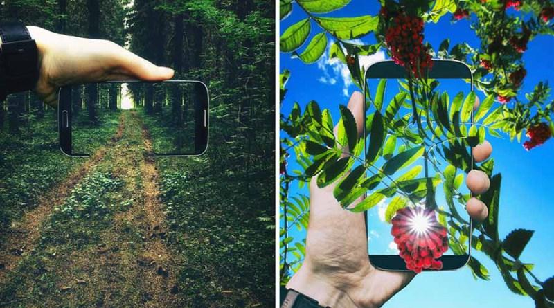 Фотограф вписывает свой телефон в снимки окружающего его мира