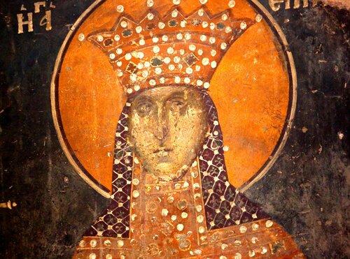Святая Великомученица Ирина Македонская. Фреска церкви Св. Николая Орфаноса в Салониках. XIV век.