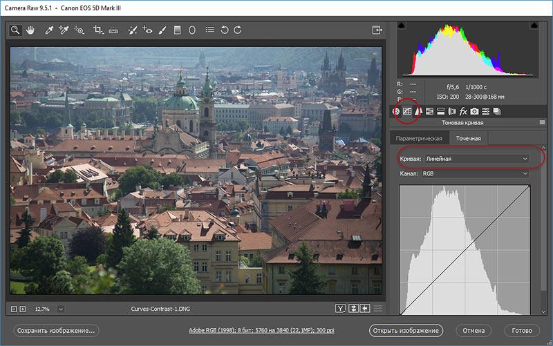диалоговое окно AdobeCamera Raw панель Кривые