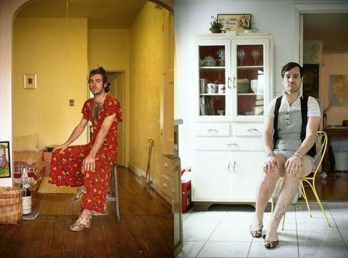 Портреты парней в одежде своих подруг