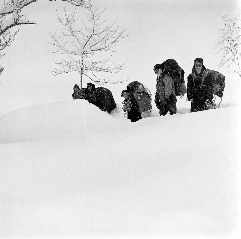Hikers in the Snow, 1950s Japan