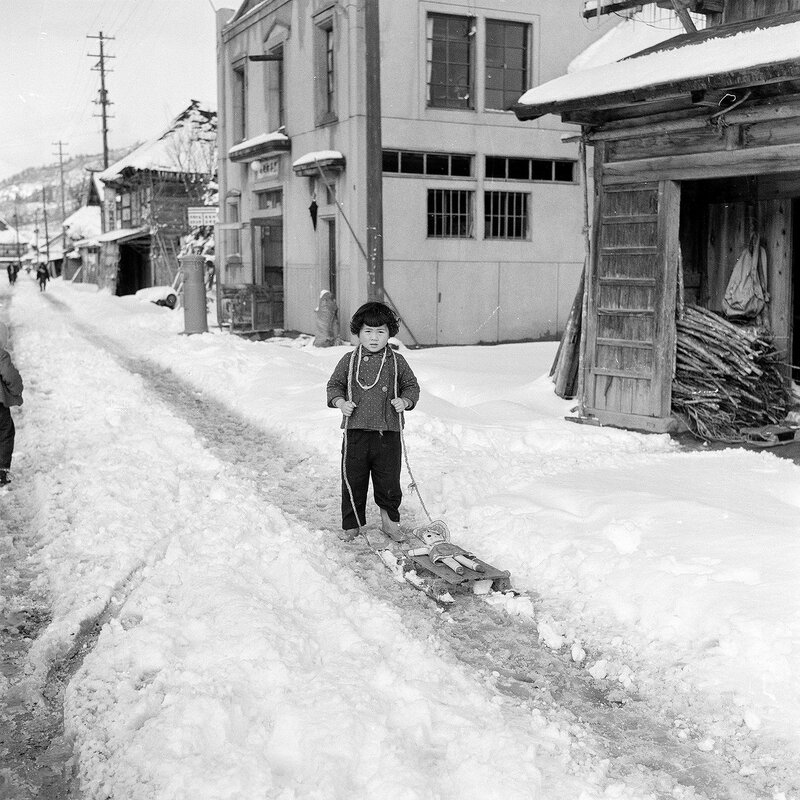 Kid With A Doll in the Snow - 1950s Japan