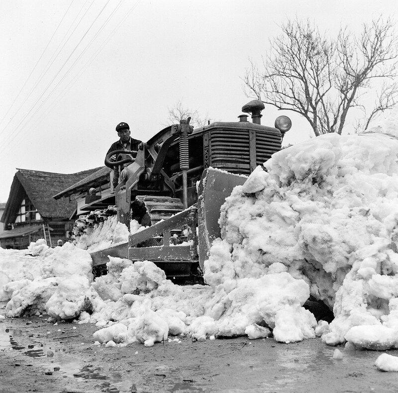 Komatsu Bulldozer in Snow, 1950s Japan