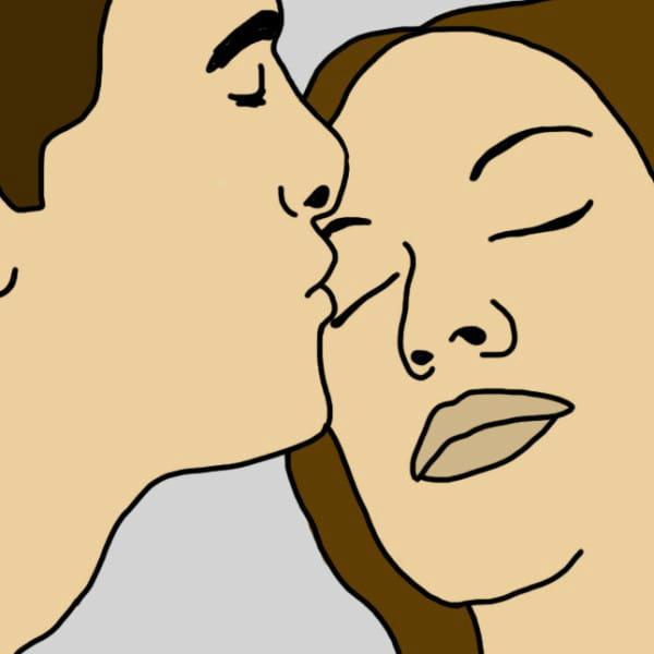 Это знак безопасности, удобства и защиты. Один из партнеров нежно и легко целует веко другого, п