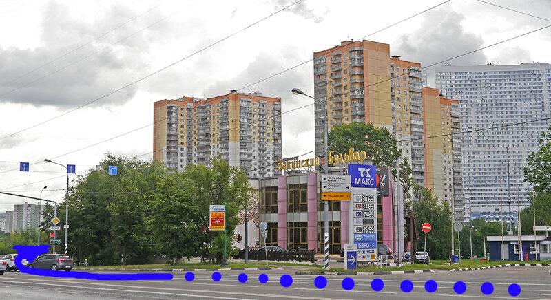 Поворот с Балаклавского проспекта после ресторана Бакинский Бульвар