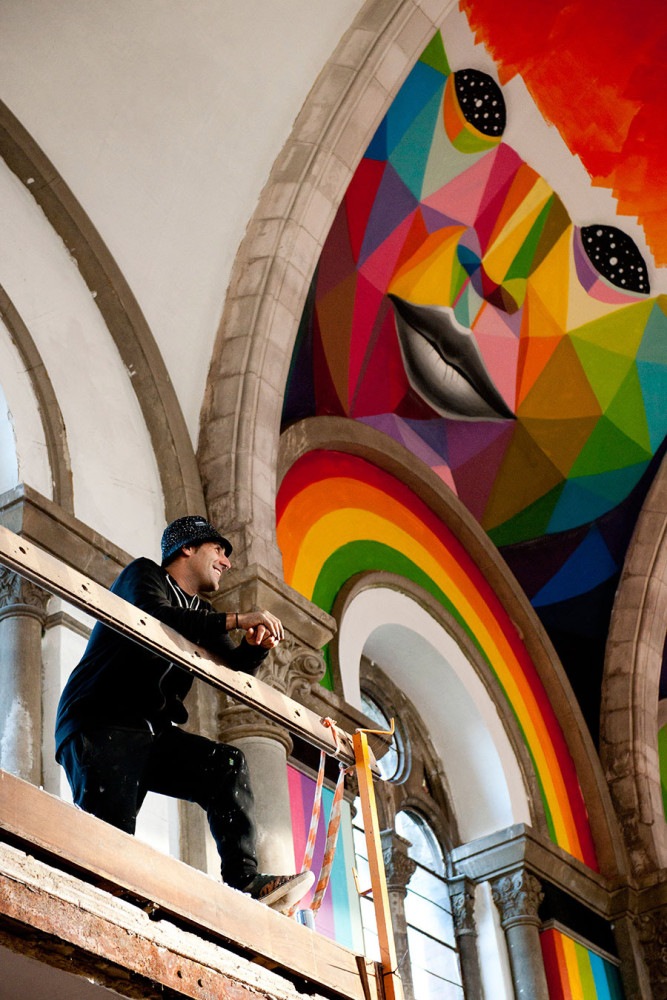The Skate Church: Murals by Okuda San Miguel Madrid-based artist Okuda San Miguel painted these awes