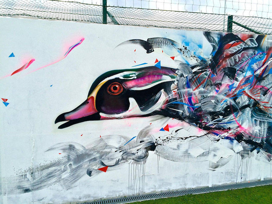 Birds Street Art Drawn on Walls with Spray Paint
