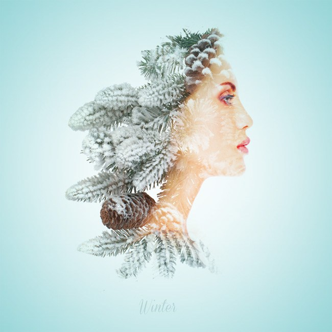 Double exposure portraits by Alon
