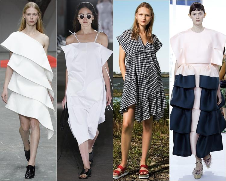 модный фасон платья 2016: платья сложного кроя