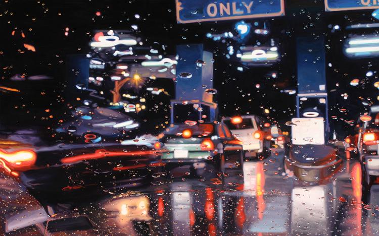 Картины   дождливые пейзажи через лобовое стекло автомобиля
