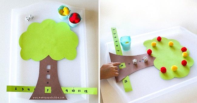 © mamapapabubba.com  Как играть Для занятия мы подготавливаемдеревце и числовую линейку,