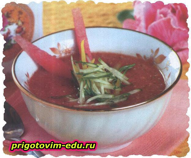 Томатно - арбузный суп с болгарским перцем