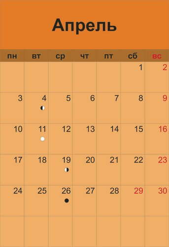 лунный календарь  апрель 2017