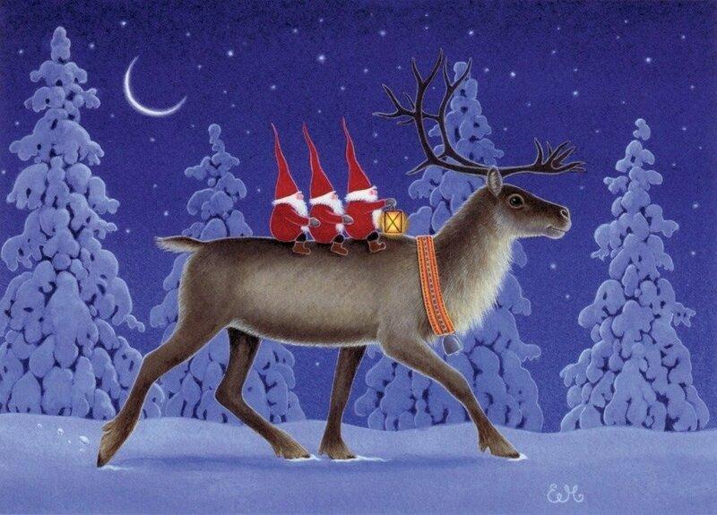 Для поднятия, музыкальная открытка с оленями