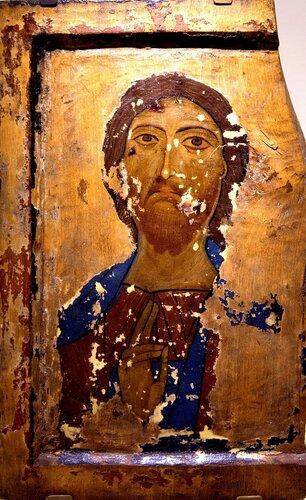Христос Вседержитель. Икона. Грузия, конец XII - начало XIII в. Музей истории и этнографии Сванетии, Местия.