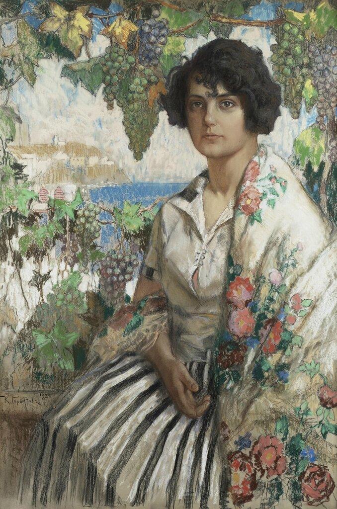 Портрет молодой женщины. 1925Картон, пастель. 100 x 68 смЧастное собрание