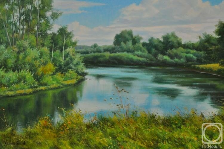 Над рекою широкою, за зелёной осокою.