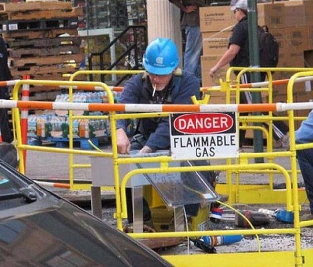 Надпись: «Опасно! Горючий газ». Хм, действительно, почему бы не покурить.
