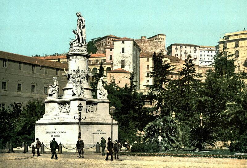 памятник Христофору Колумбу в Генуе, конец XIX века