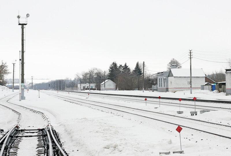 Станция Залегощь с подъездных путей, вид на Орёл