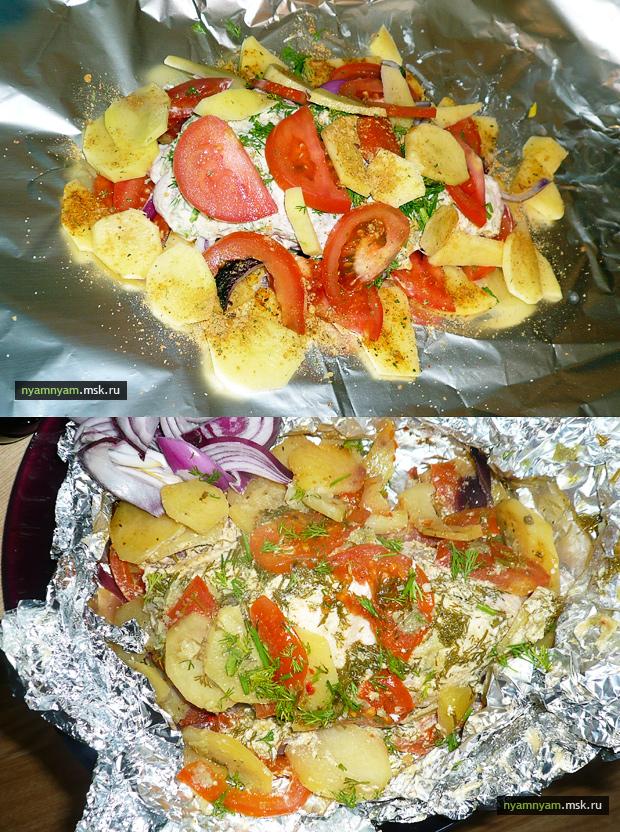 Курица с овощами запеченная в духовке