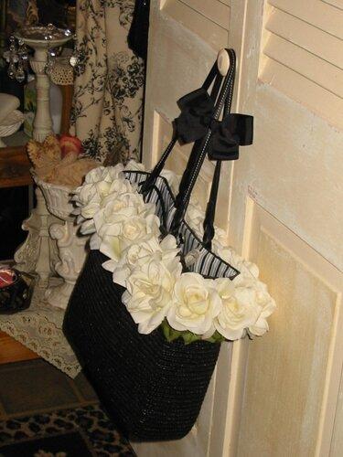 декор сумки цветами