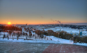 Зимний закакт закат, Чебоксары, панорама, вечер, город, HDR