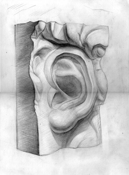 Рисуем гипсовое ухо