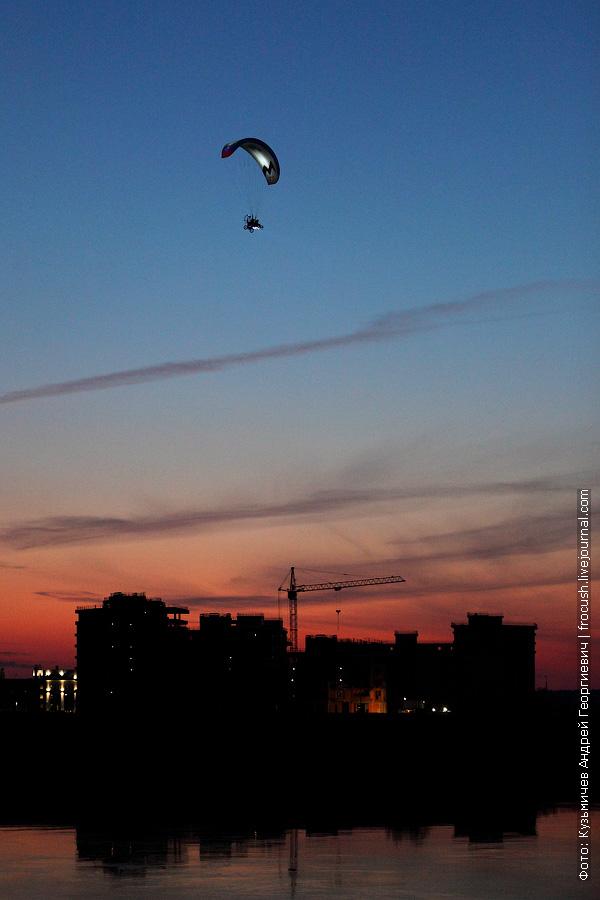 параплан в Дубне ночное фото