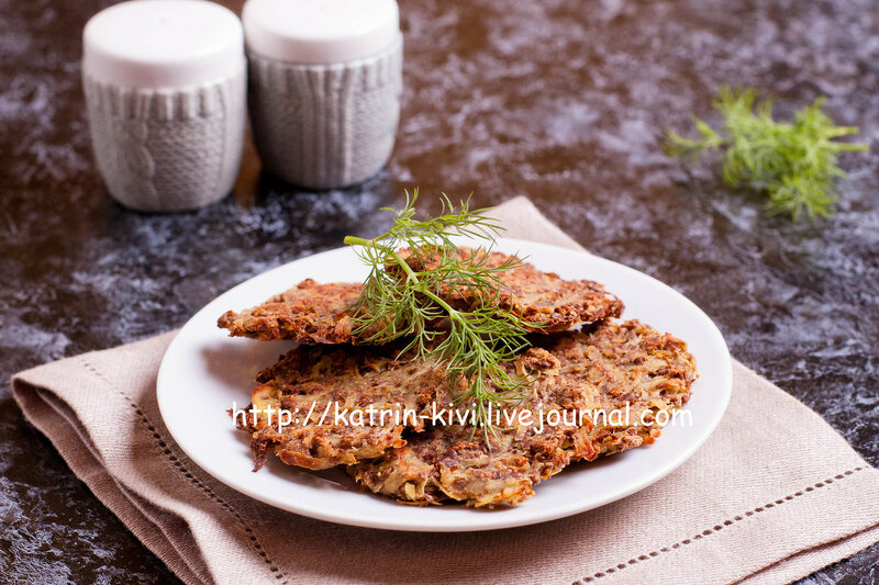 Delicious potato pancakes on plate with dill