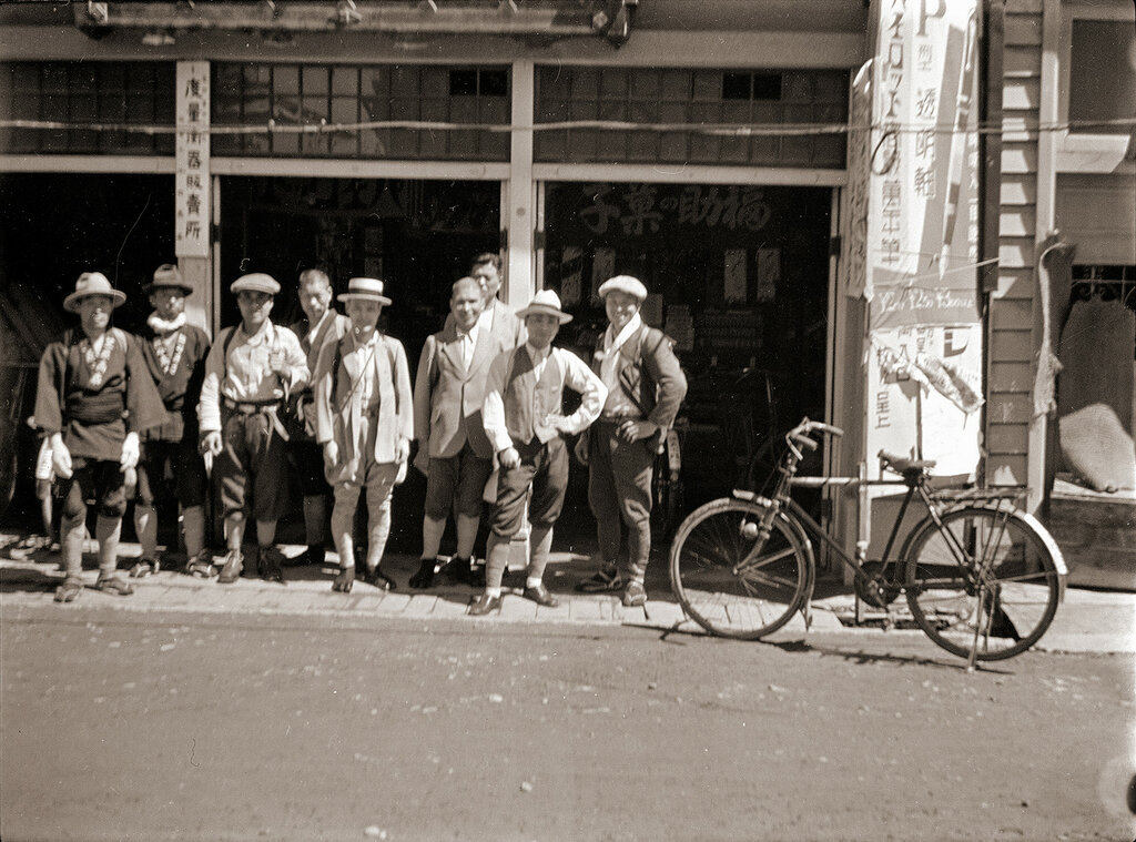 Japanese Men & Bicycle, 1930s.