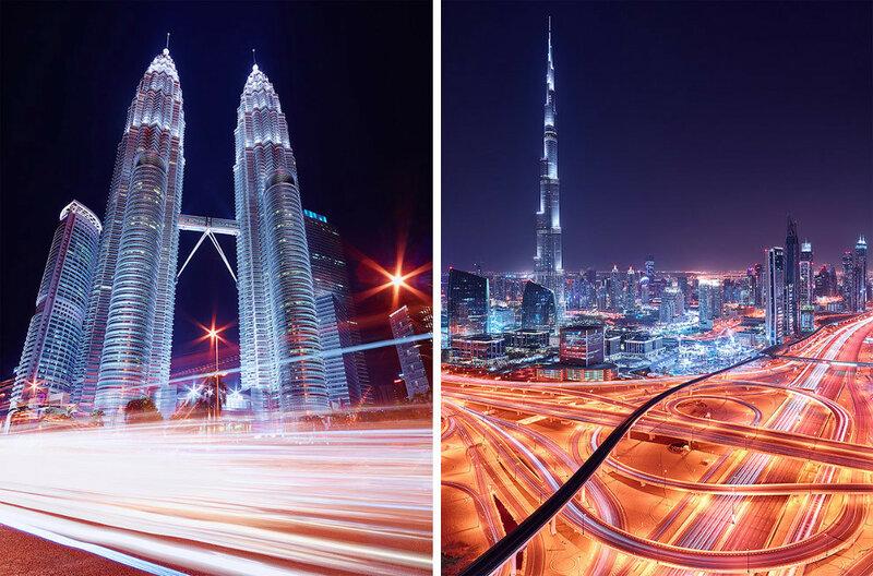 Слева — Куала-Лумпур, Малайзия, справа — Дубай, Объединенные Арабские Эмираты.