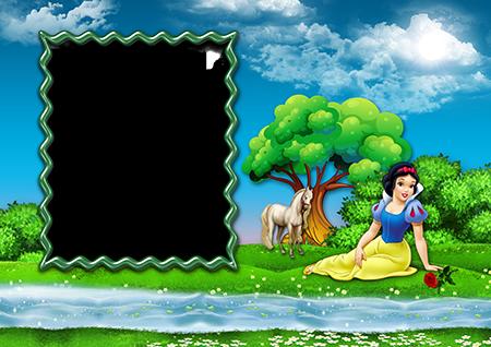 Фоторамка для детей с Белоснежкой около ручья в лесу и белым конем