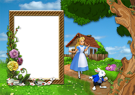 Фоторамка с Алисой, белым кроликом и чеширским котом в стране чудес