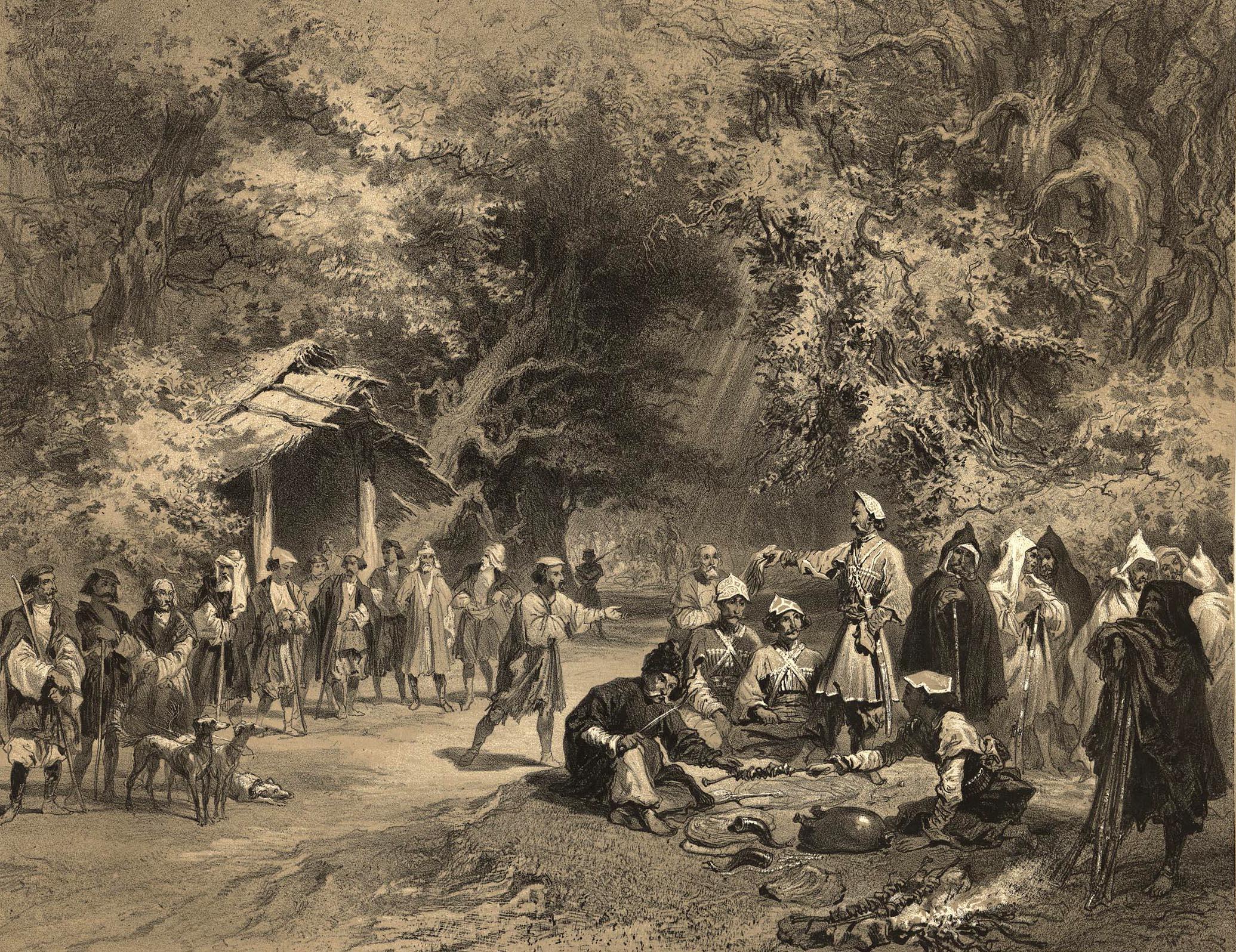 6. Mingrelie. Halte de chasse en Mingrelie / Мегрелия (район Западной Грузии). Привал охотников в Мегрелии