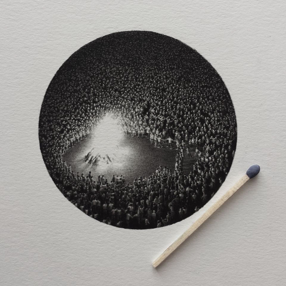 Mateo Pizarro's tiny graphite drawings are scarcely larger than the length of a match but contain en