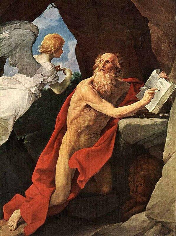 Гвидо Рени, Святой Иероним и ангел, 1635, холст, масло, 278x238 см.