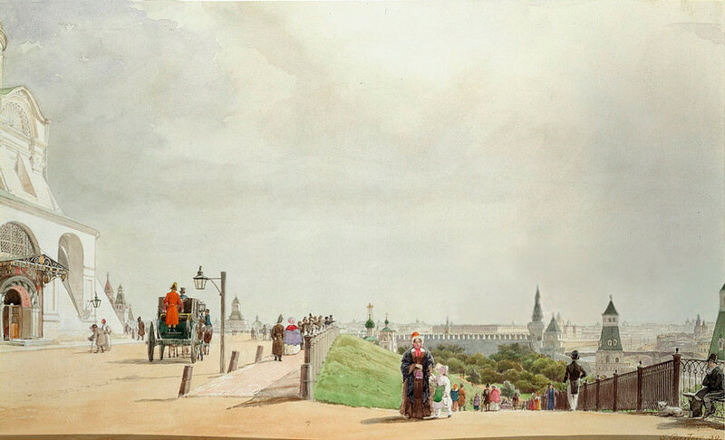 460225 В московском Кремле. Спуск к Тайницкому саду 1838 Гертнер (Gaertner) Иоганн Эдуард Филипп.jpg