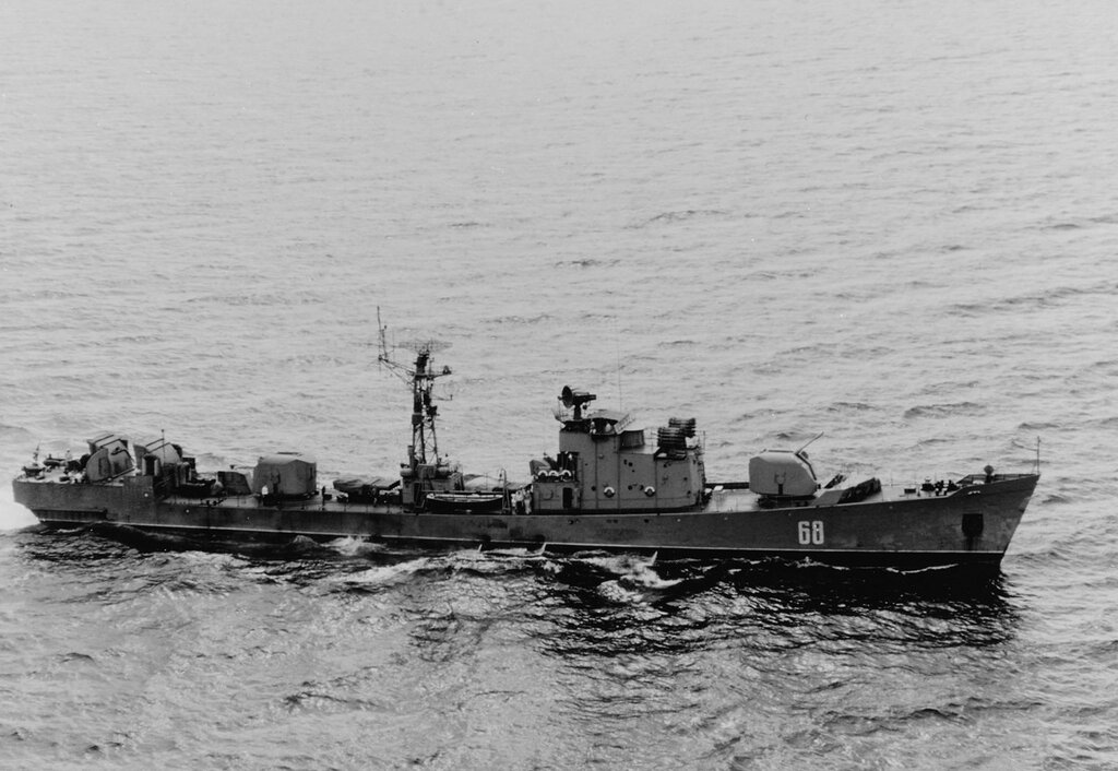 Soviet Mirka-Class Escort ship, pennant number 68, underway off Crete, 5 June 1967.