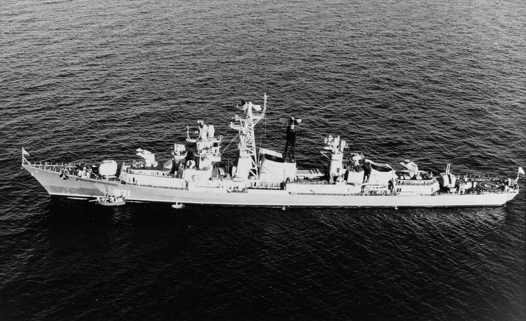 KASHIN CLASS, Soviet guided missile destroyer. In the Mediterranean Sea, 1968