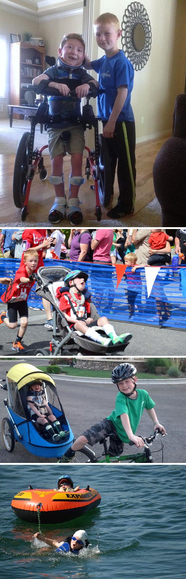 8-летний Ноа участвует в мини-триатлоне вместе со своим парализованным братом Лукасом.