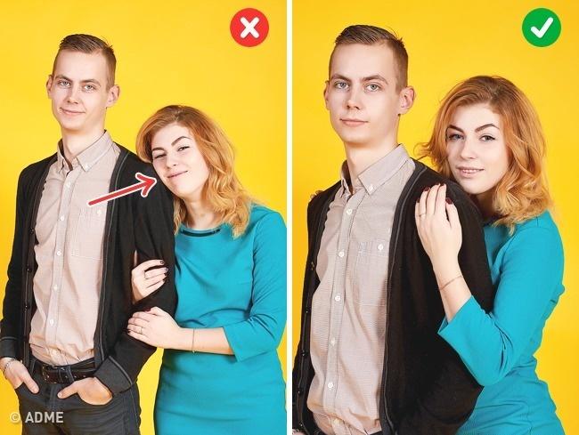 Лучше некласть голову наплечо партнера: из-за разницы вросте это часто выглядит нелепо. Встаньте